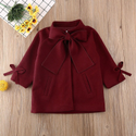 Wool Red Kids Girls Trench Coat