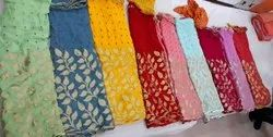 Jasvi Georgette Pure Bandhej Sarees, 5.5 m (separate blouse piece), For Partywear