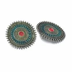 Alloy Silver Handmade Enamelled Oxidised Earrings, Size: 1 Inches
