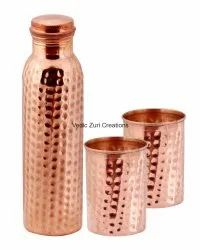 CU-24 Copper Hammered Bottle With 2 Glasses