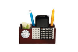Wood Metal Calendar with Pen Stand and Watch