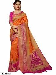 Orange Color Beautiful Dola Silk Saree, Length: 5.5 m with Separate Blouse Piece