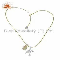 Ethiopian Opal Pearl Gemstone Bird Charm Fine Silver Dori Necklace