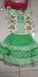 Girl Green and White Baby Infants Wear, Age Group: 2-3yr