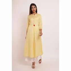 Yellow Plain Gathers Kurti with Palazzo