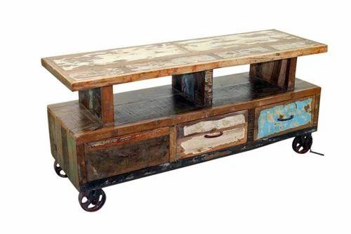 Refurnished 30 X 42 X 30 Industrial Vintage T.v Cabinet