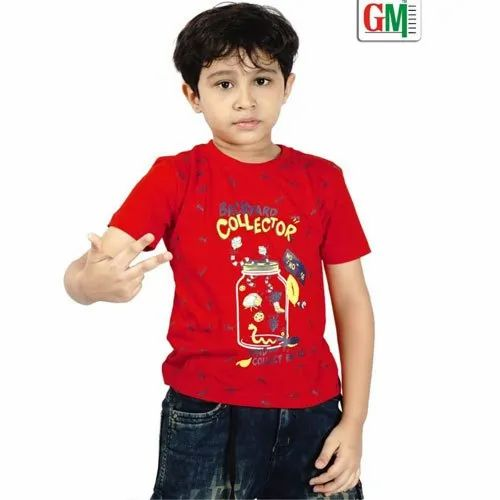 Casual Wear Printed Kids Round Neck T- Shirts, Packaging Type: Box