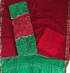 Cotton & Satin Unstitched Bandhani Suit
