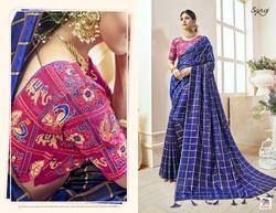 Stylish Fancy Blue Party Wear Sarees