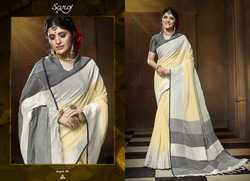 Cream and grey Stylish Plain Wear saress