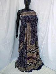 Ajrakh Hand Block Printed Cotton Saree