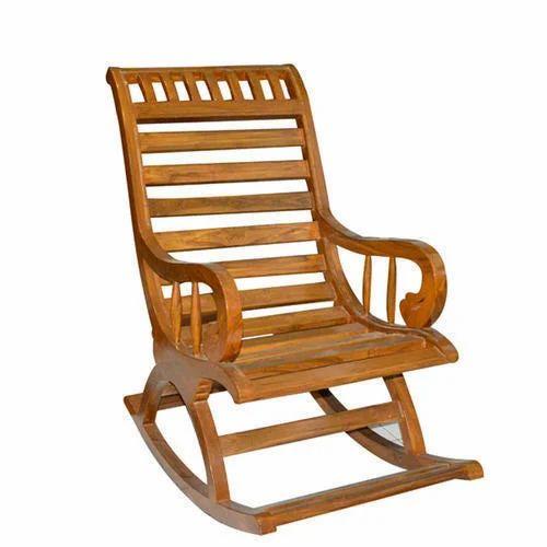 Brown Teak Wood Rocking Chair