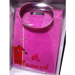Party Wear Pink Mens Silk Kurta, Size: 36-42, Handwash