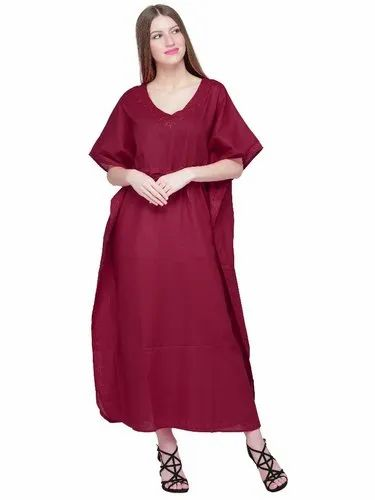 ba38c6e1f4 Skavij Womens Caftan Cotton Soft Beach Cover Up Long Kaftan Embroidered  Cotton Maxi Dress - Maroon