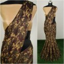 Ladies Silk Saree Military Print