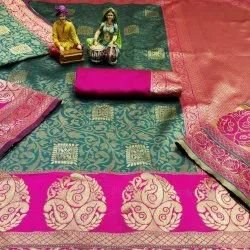 Party Wear Printed Lichi Silk Saree, 6 m (with blouse piece)
