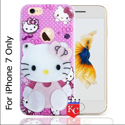 official photos e5f47 bbd7c Kc Mirror Kitten Girl With Diamonds Studs Back Cover For Apple Iphone 7 Pink