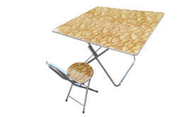 Folding Dining Table Wood Top with Chair-70x70-Tree Leaves