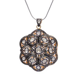Pave Diamond Polki Pendant Crafted Sterling Silver