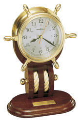 Brass And Wood Ship Wheel Nautical Design Table Clock