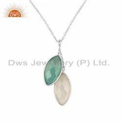 Rainbow Moonstone Aqua Gemstone Designer 925 Sterling Silver Pendant
