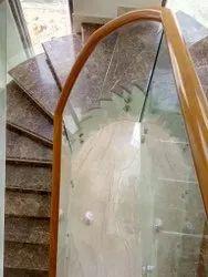Round Wooden Glass Handrail