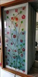 Multicolor Color Designer Printed Glass, Size: 3*6 Feet