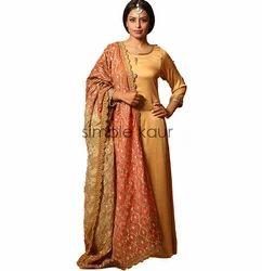 Girls XXL Woman Beige & Orange Embroidered Dupatta Suit