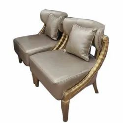 Furniture Hut Wood and Leather Designer Sofa Chair, Size: 18 Inch (Seating Height)