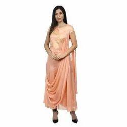 Half Sleeve Party Wear Ladies Fancy Georgette Kurti, Size: 36-46