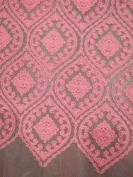 Baby Pink Designer Embroidery Net Fabric