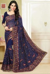 Party Blue Faux Georgette Embroidery Saree With Blouse 248ST1D158EAB