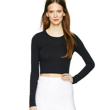 d14062bf646f9f Casual Girls Full Sleeves Round Neck Plain Crop Top