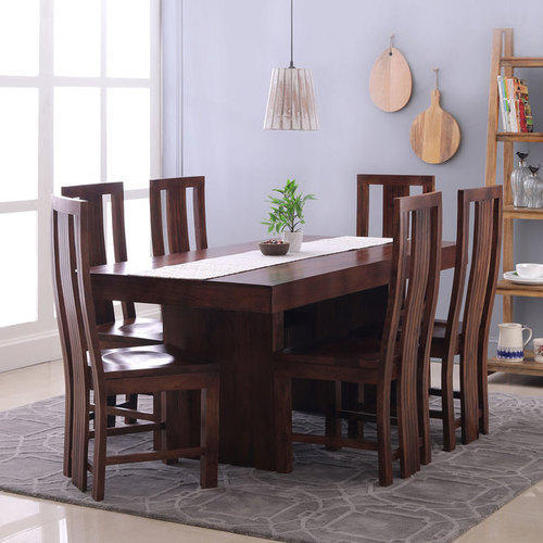 6 Chairs Brown Wooden Dining Table Set