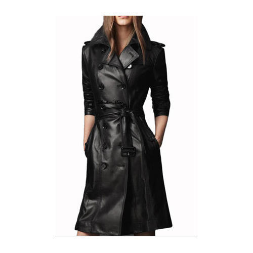 Black Long Ladies Leather Jacket Rs 4500 Piece New Fashion Style