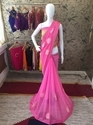 Party Wear Georgette Ribbon Flower Lace Patti Work Saree