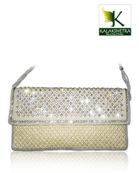 Designer Clutch Made Of Selective Off White Beeds