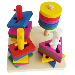 Educational Wooden Building Blocks Four Column Pillar Matching Geometric Shape Sorter Puzzle (Multi-