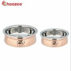 Choozee - Copper/Stainless Steel Serving Handi Set of 2 Pcs