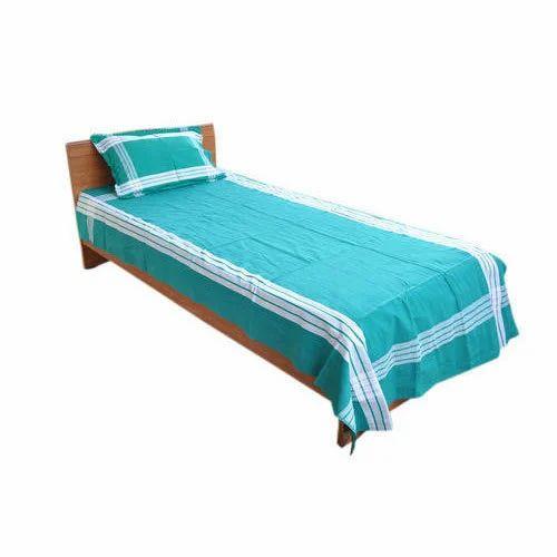 20325f4eca5 Pure Cotton White   Green Plain Single Bedsheet