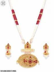 Priyaasi Gold Plated Ruby Stone Studded Beaded Chain Elliptical Shape Jewellery Set