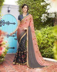 PR Fashion New Peach & Grey Designer Saree