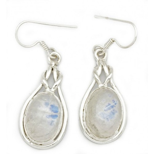 92 5 Sterling Silver India Rainbow Moonstone Earrings