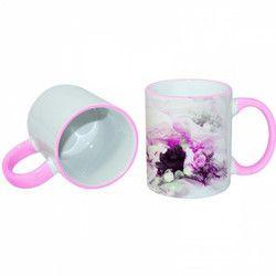 Pink Rim Handle Mug