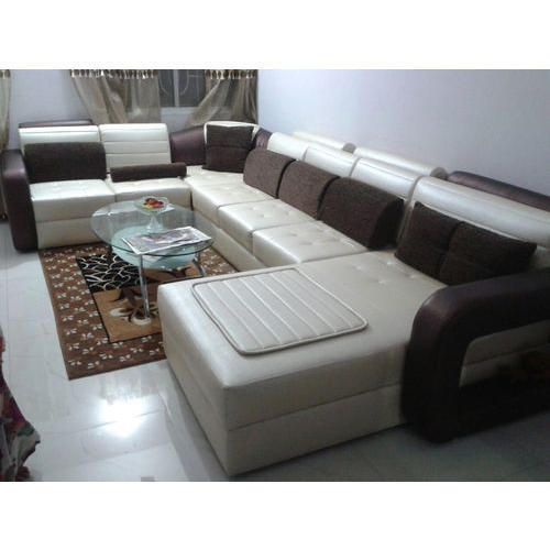 Leather Sofa Set And Gl Table At Rs