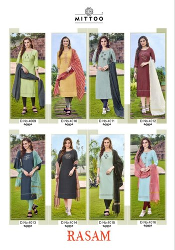 Rasam by Mittoo Two Tone Rayon Kurti With Dupatta
