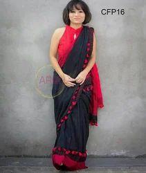 Khadi Pom Pom Saree, Length: 6.3 m