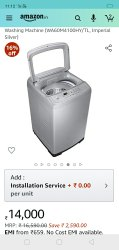 Wa60m4100hy 01 Capacity(Kg): 6 Kg Samsung Fully Automatic Washing Machine