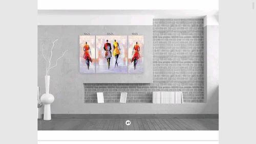 10x24 -2 / 20x24 - 1 Multi Colour 3 PCs Canvas Print With Wooden ...