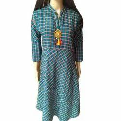 Straight 3/4th Sleeve Ladies Check Cotton Casual Kurti, Size: S-XXL